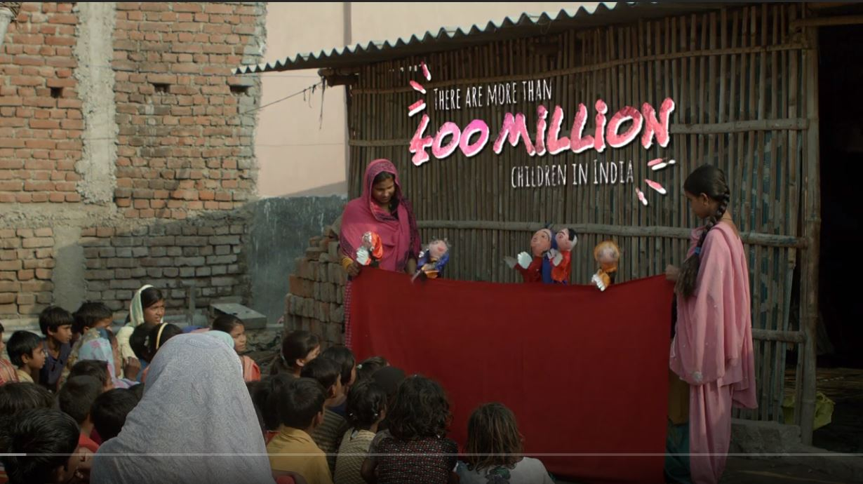 Video previews children at a puppet show in India