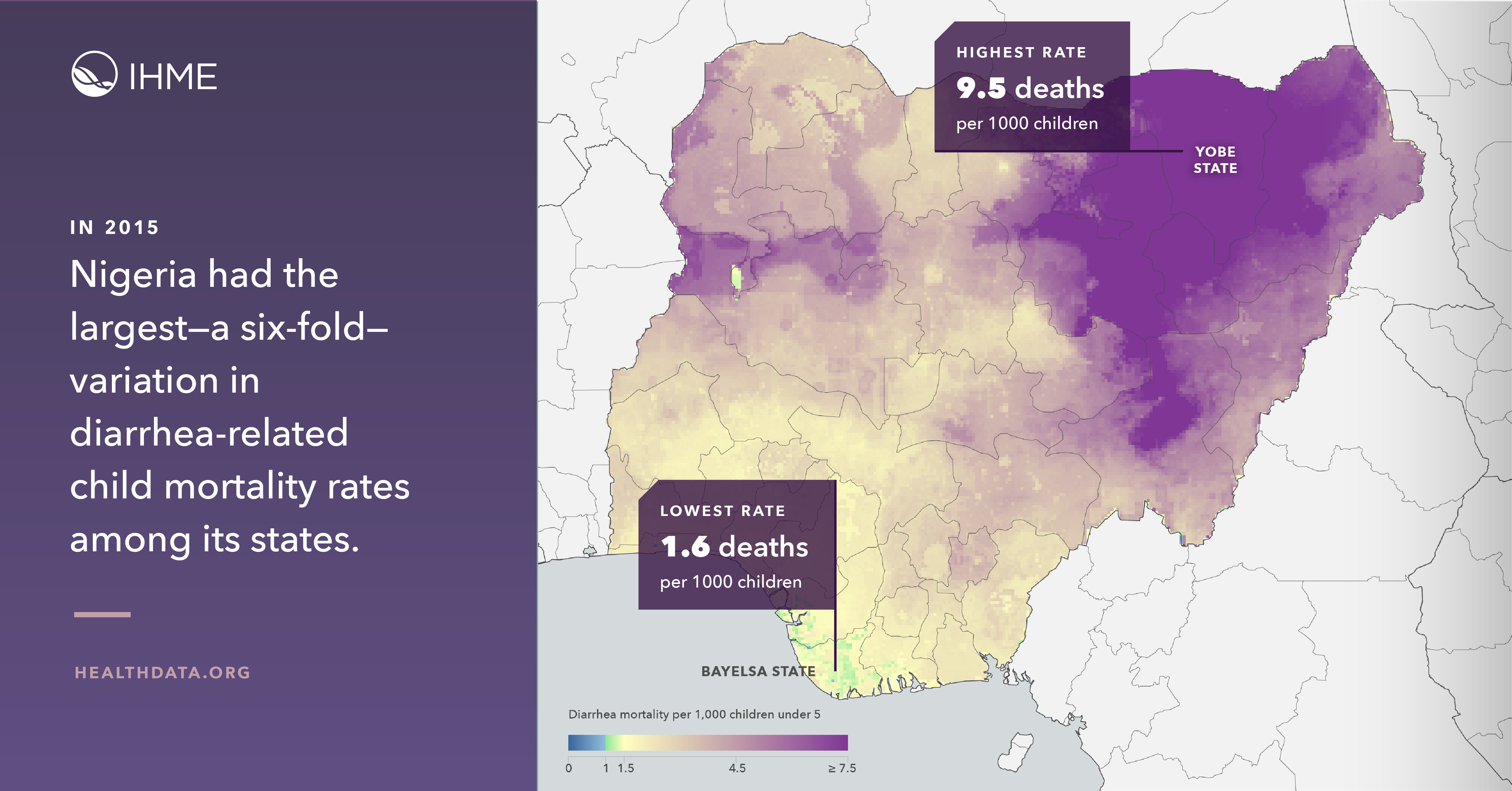 Heat map of diarrheal disease in Nigeria