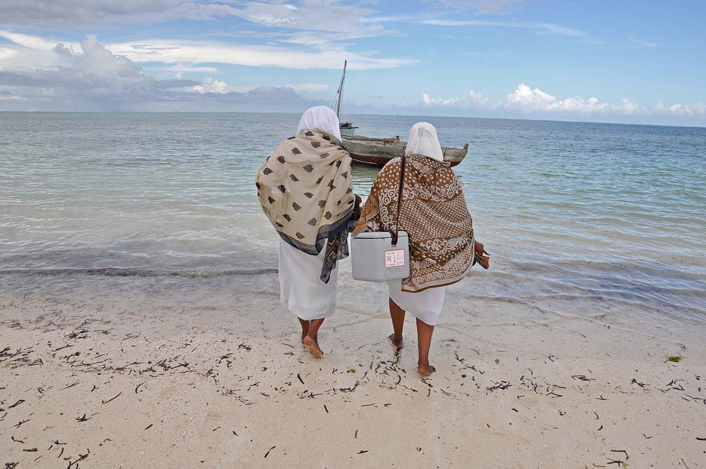 Two health workers with vaccines walking toward a boat