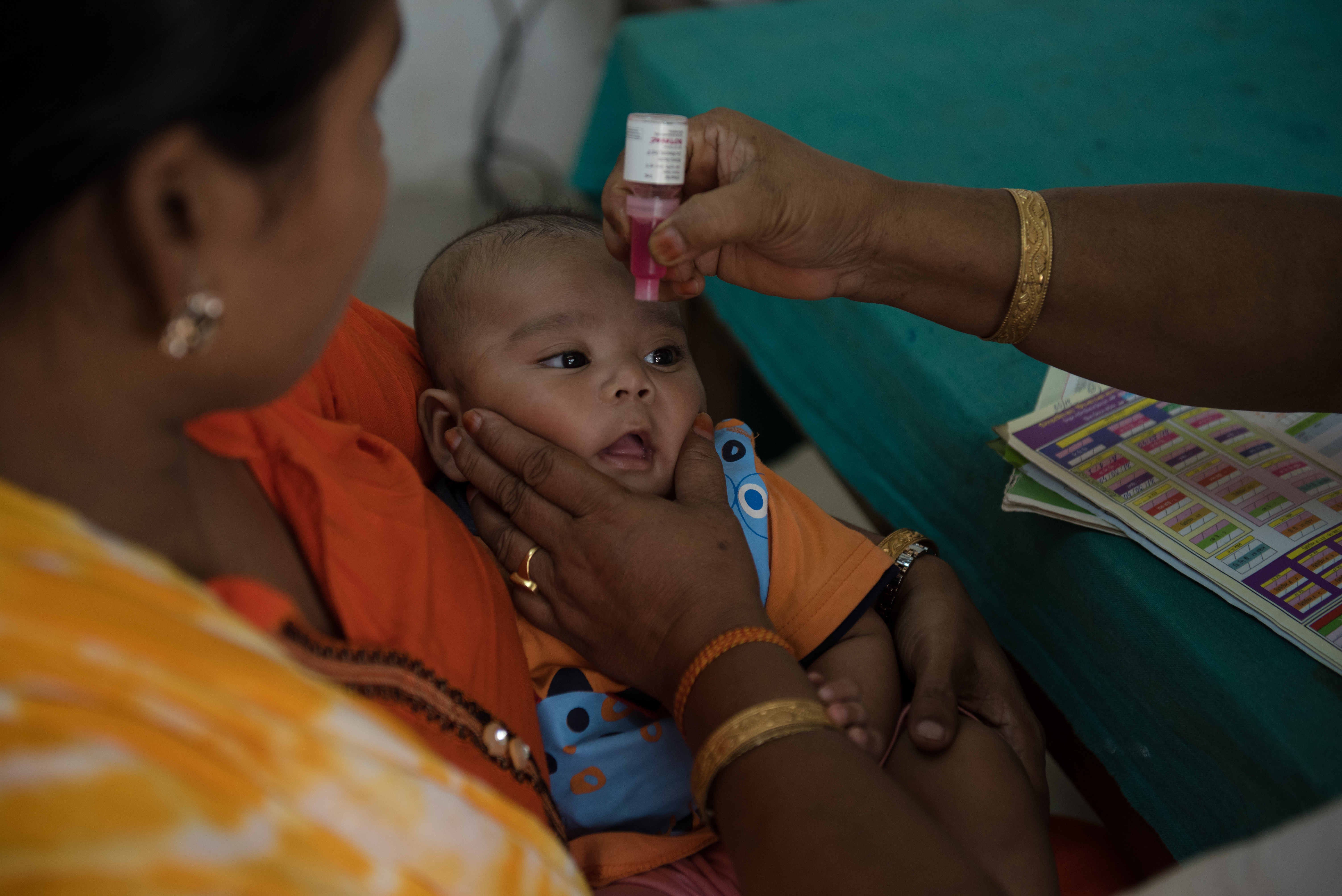 A baby in India receives ROTAVAC rotavirus vaccine.