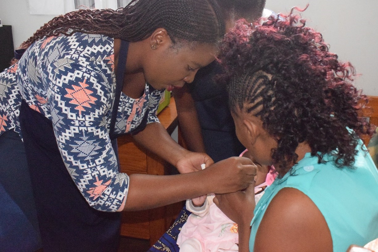 Zambian infant receives an oral vaccine