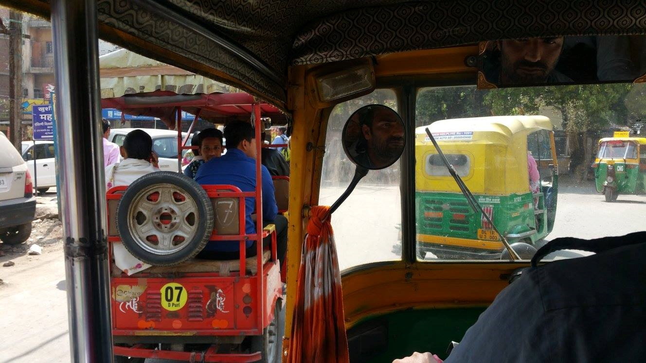 View from an auto ride of other autos