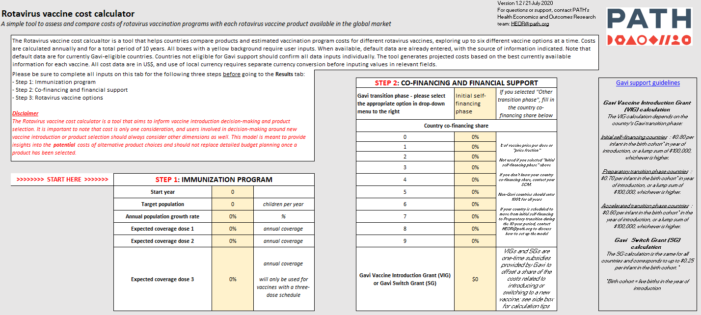 Rotavirus Vaccine Cost Calculator model input page