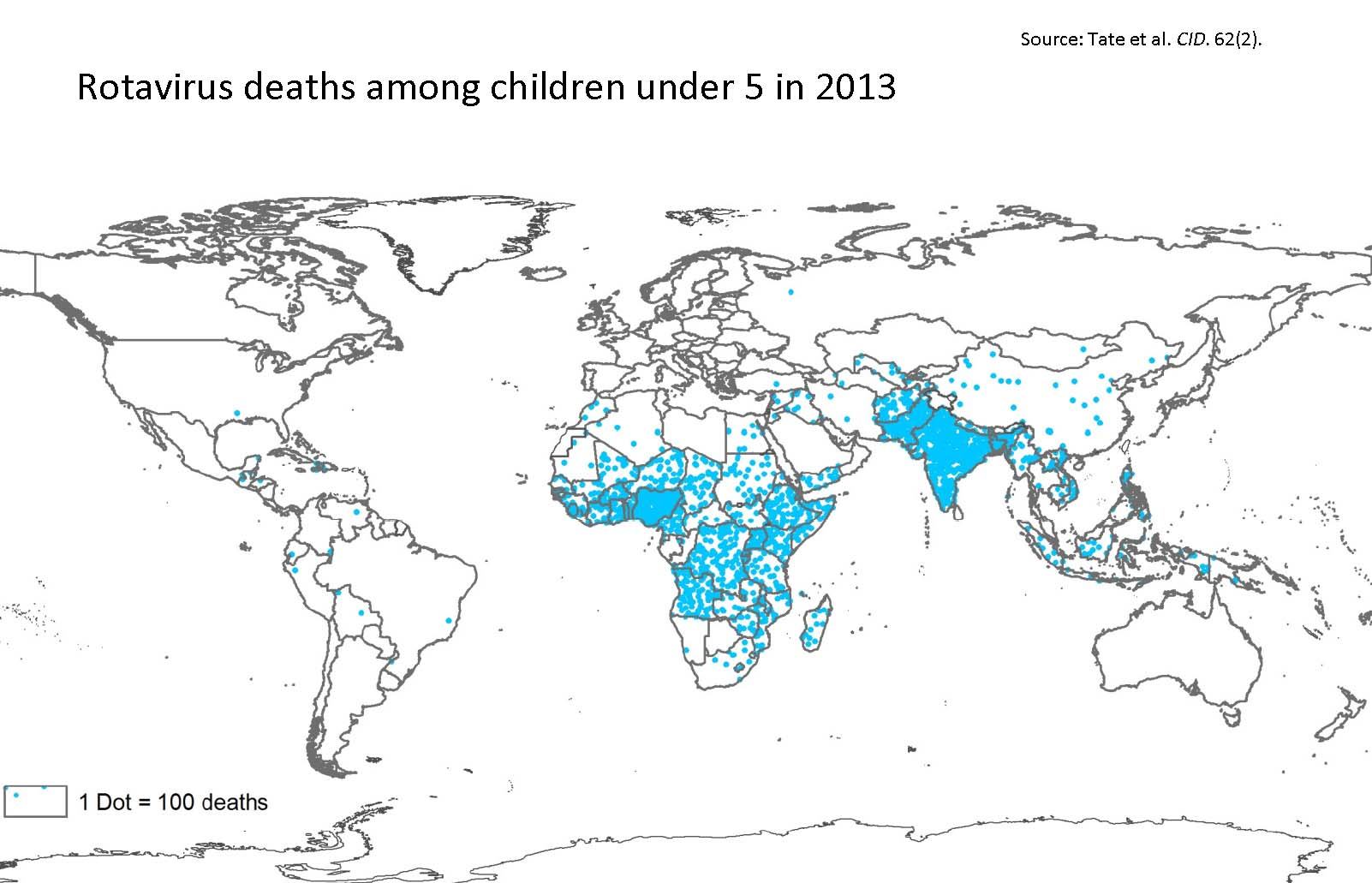 World map of global rotavirus deaths in 2013