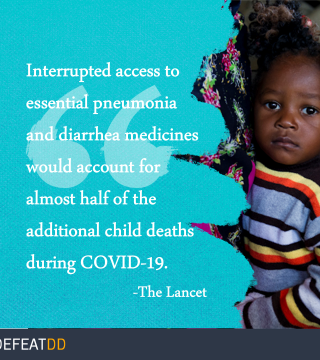 Interrupted access to pneumonia and diarrhea medicines could account for up to half of pneumonia and diarrhea deaths