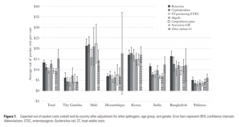 Graph showing estimates for cost of illness of diarrhea by etiology and country