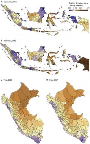 Indonesia and Peru diarrhea burden graphic