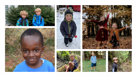 Photograph collage of children